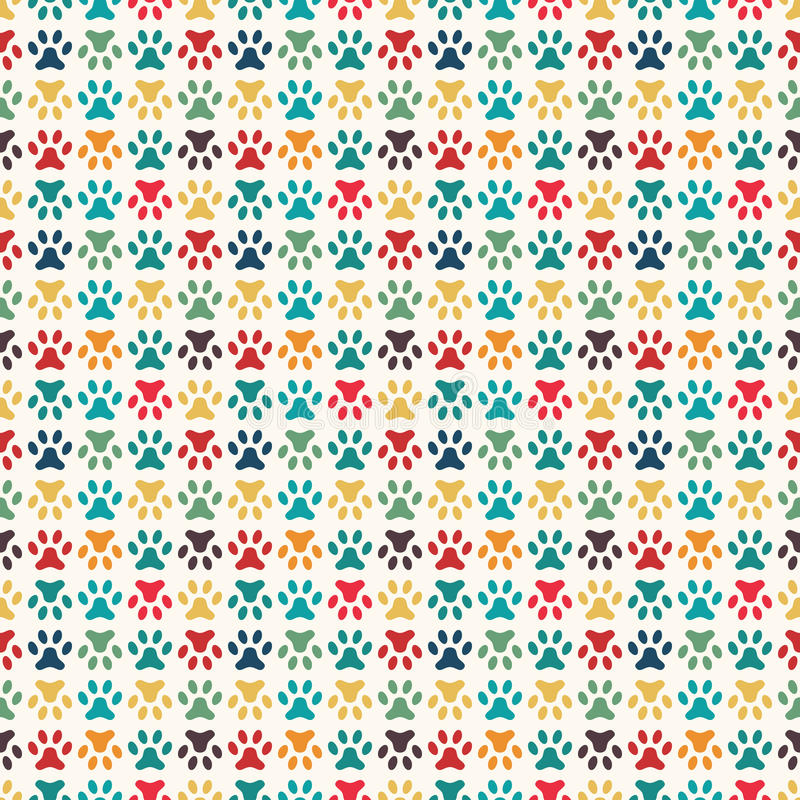 Free Animal Seamless Vector Pattern Of Paw Footprint Stock Photography - 59089932