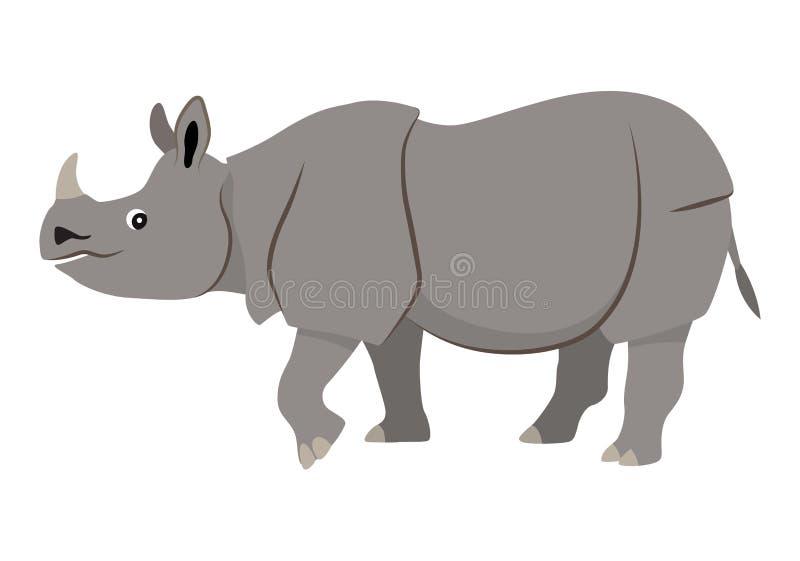 Animal selvagem bonito, ícone de passeio cinzento do rinoceronte ilustração stock