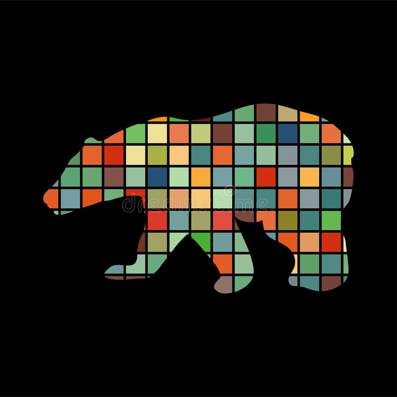 Animal selvagem da silhueta da cor do urso ilustração do vetor