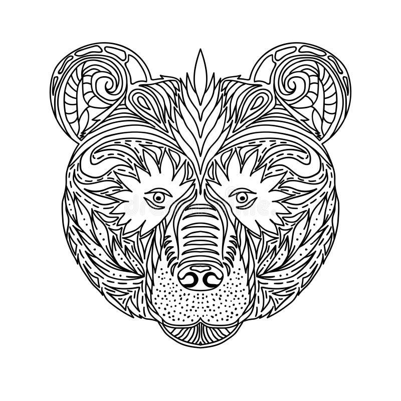 Animal selvagem do urso da floresta, projeto decorativo das caras preto e branco do ornamento do laço Página para livros para col ilustração stock