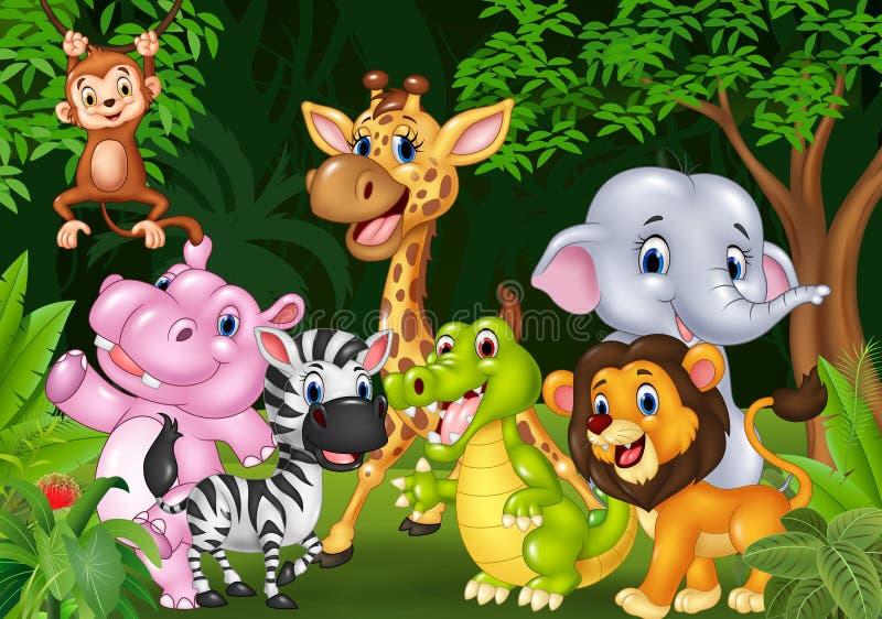 Animal selvagem dos desenhos animados na selva ilustração stock