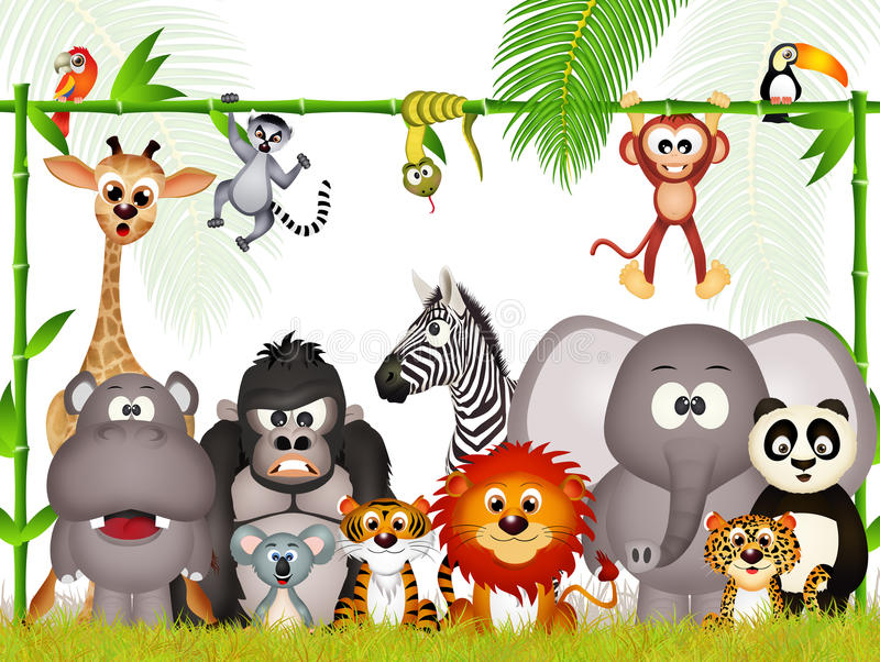 Animal selvagem na selva ilustração do vetor