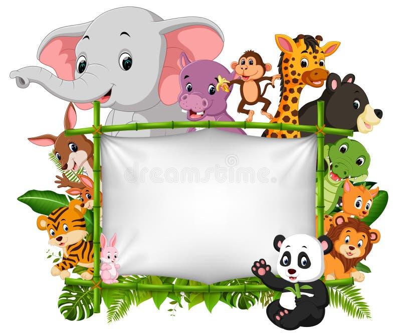 Animal selvagem que está em um quadro de bambu ilustração do vetor