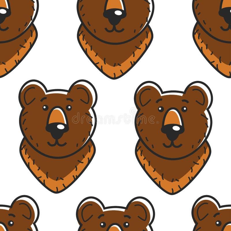 Animal sem emenda da floresta do teste padrão do símbolo do russo do urso ilustração do vetor