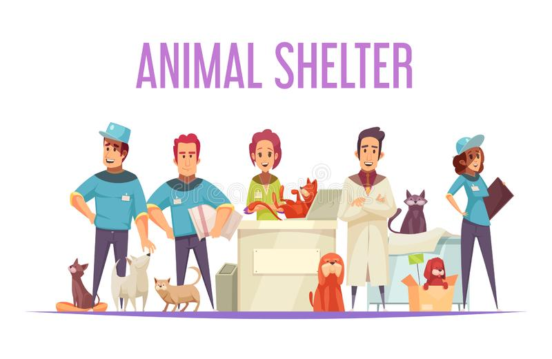 Animal Shelter Composition. Animal shelter design concept with volunteers veterinarians domestic and homeless pets flat vector illustration royalty free illustration