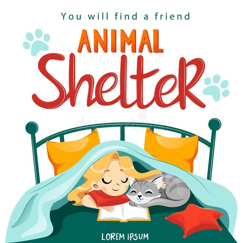 Animal Shelter design poster with child, cat and decorations. stock illustration