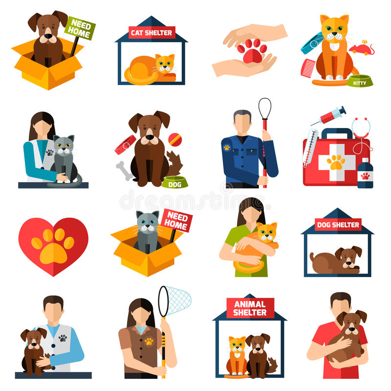 Animal shelter icons set. With volunteers with cats and dogs isolated vector illustration vector illustration