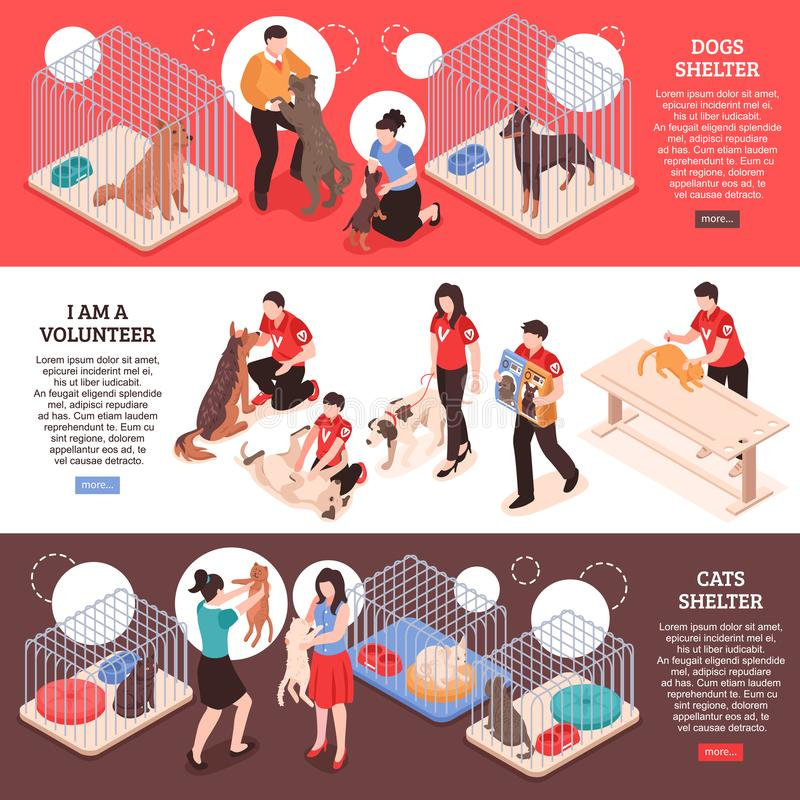 Animal Shelter Isometric Banners royalty free illustration