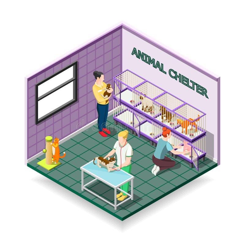 Animal Shelter Isometric Composition stock illustration