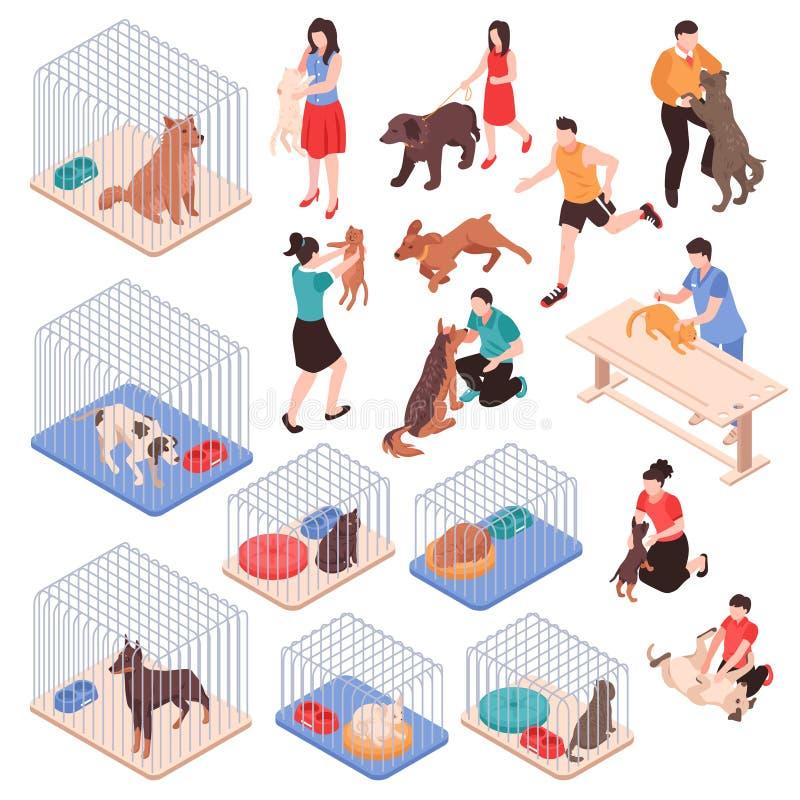 Animal Shelter Isometric Set stock illustration