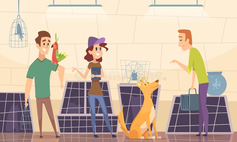 Animal shelter. Owners choose puppy dog in cage vector cartoon background stock illustration