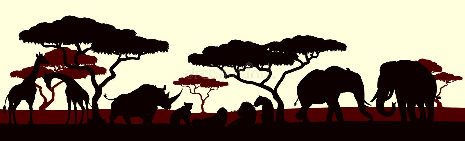 Animal Silhouette African Safari Landscape Scene. An African safari animal silhouette scene landscape stock illustration