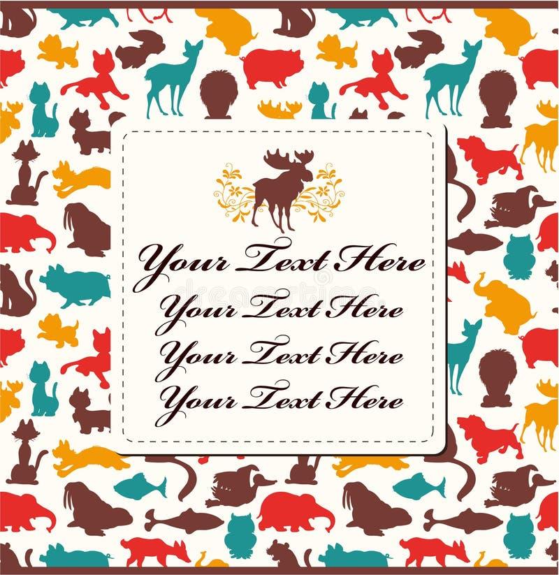 Animal Silhouette Card Royalty Free Stock Image