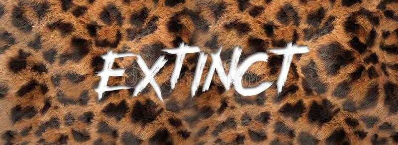 Font written extinction with oz skin. Animal skin in danger of extinction with marks of extinct written stock illustration