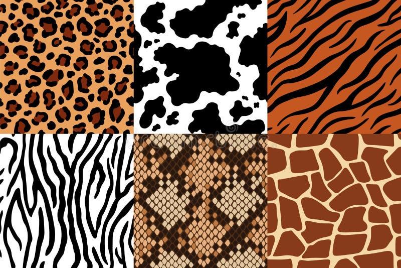 Animal skins pattern. Leopard leather, fabric zebra and tiger skin. Safari giraffe, cow print and snake seamless vector illustration