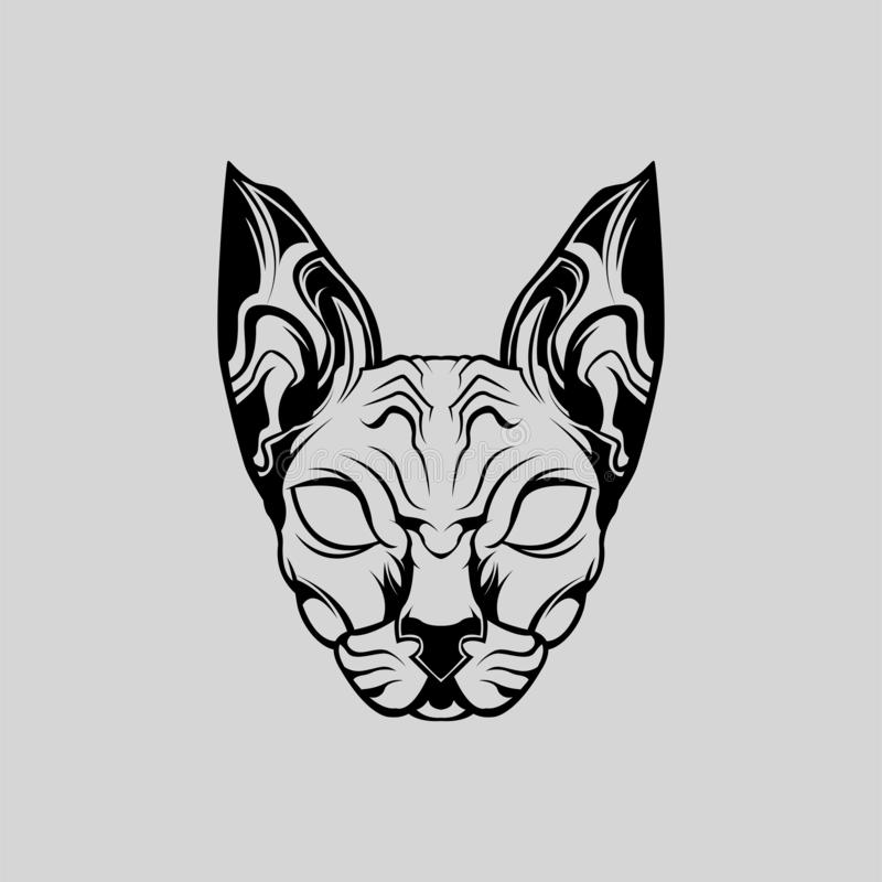 Animal Sphynx Cat Front View Vector stock photo
