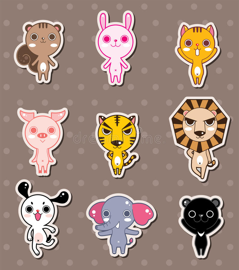 Download Animal stickers stock vector. Image of postcard, bear - 24599562