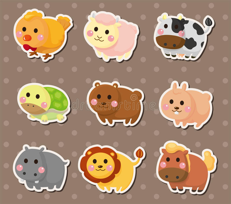 Animal stickers royalty free illustration