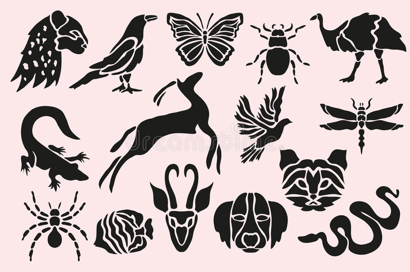 Animal symbols set. Abstract animal, insects, birds and fishes symbols set, design elements. Can be used for invitations, greeting cards, scrapbooking, print vector illustration