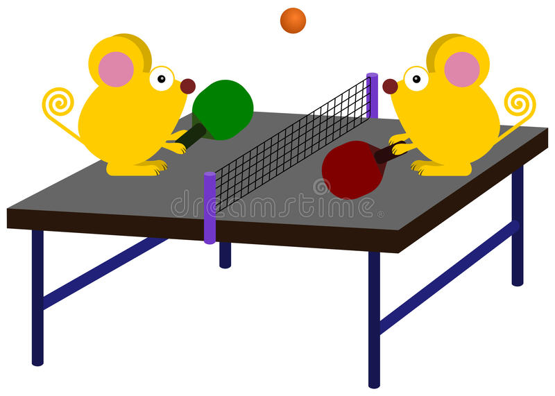 Animal table tennis. A cute illustration of mice playing table tennis stock illustration
