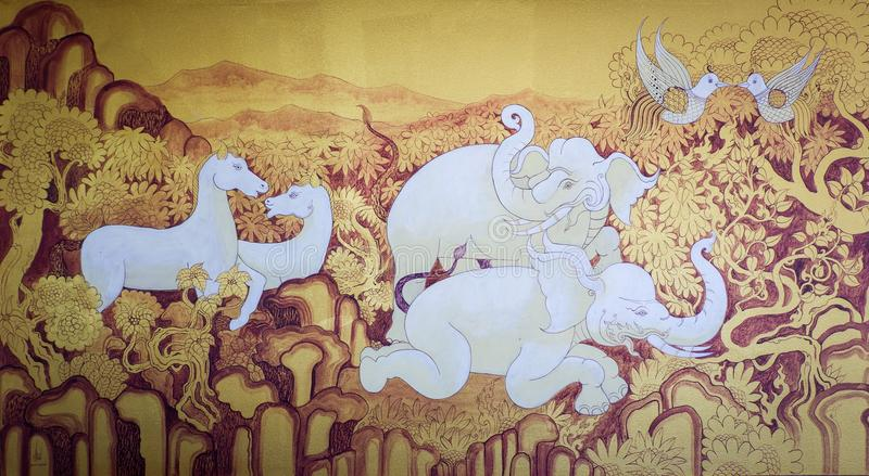 Animal tailandês da pintura fotos de stock royalty free
