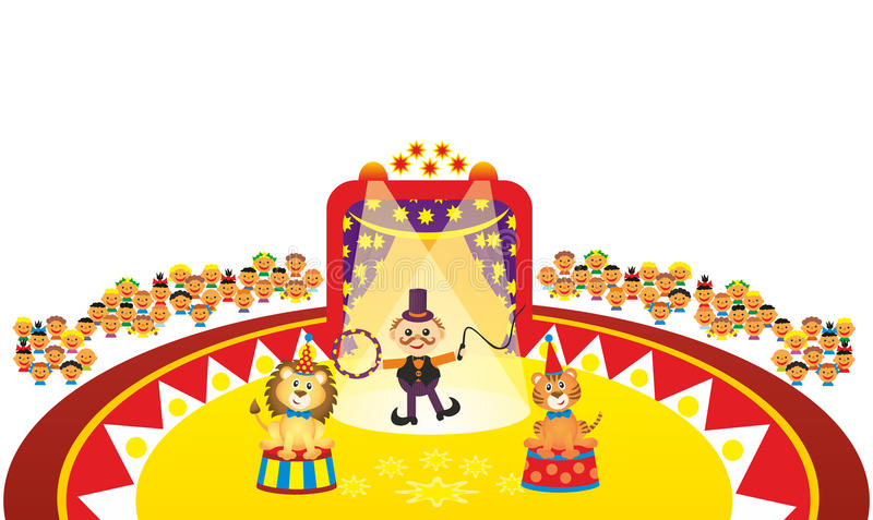 Download Animal tamer in circus stock illustration. Image of playing - 33347803