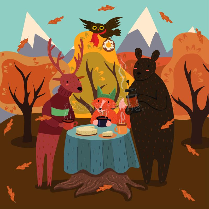 Animal tea party in the autumn forest. Vector graphics royalty free illustration