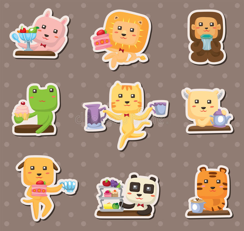 Animal Tea Time Stickers Royalty Free Stock Image