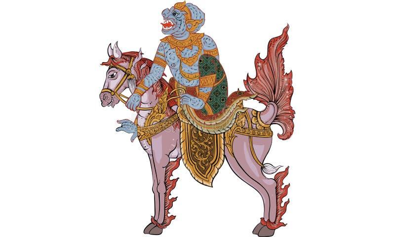 Animal in Thai tradition painting,Thai tattoo, vector. NThai tradition painting in temple Thai traditional tattoo, Thai yantra royalty free illustration