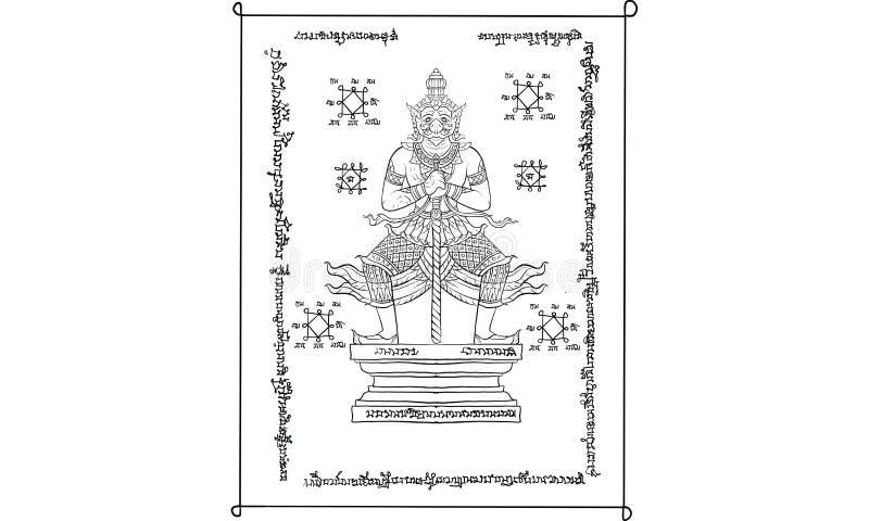 Animal in Thai tradition painting,Thai tattoo, vector. NThai tradition painting in temple Thai traditional tattoo, Thai yantra vector illustration