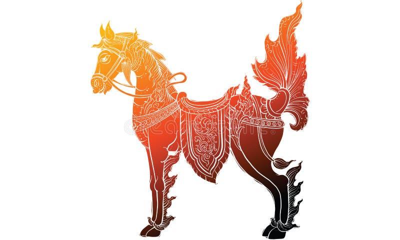 Animal in Thai tradition painting,Thai tattoo, vector. NThai tradition painting in temple royalty free illustration