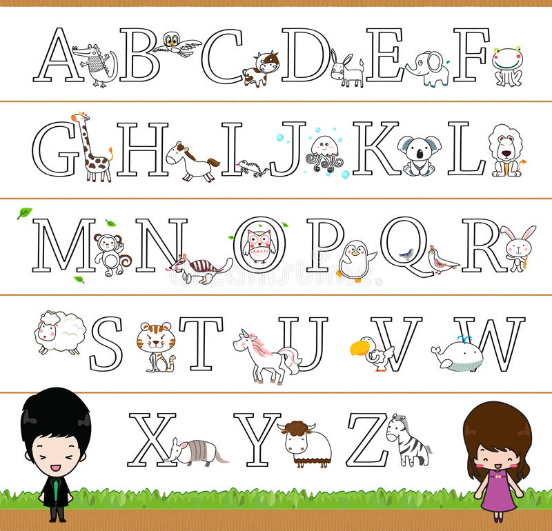 Animal Themed Alphabet A - Z Poster, coloring picture for kids royalty free illustration