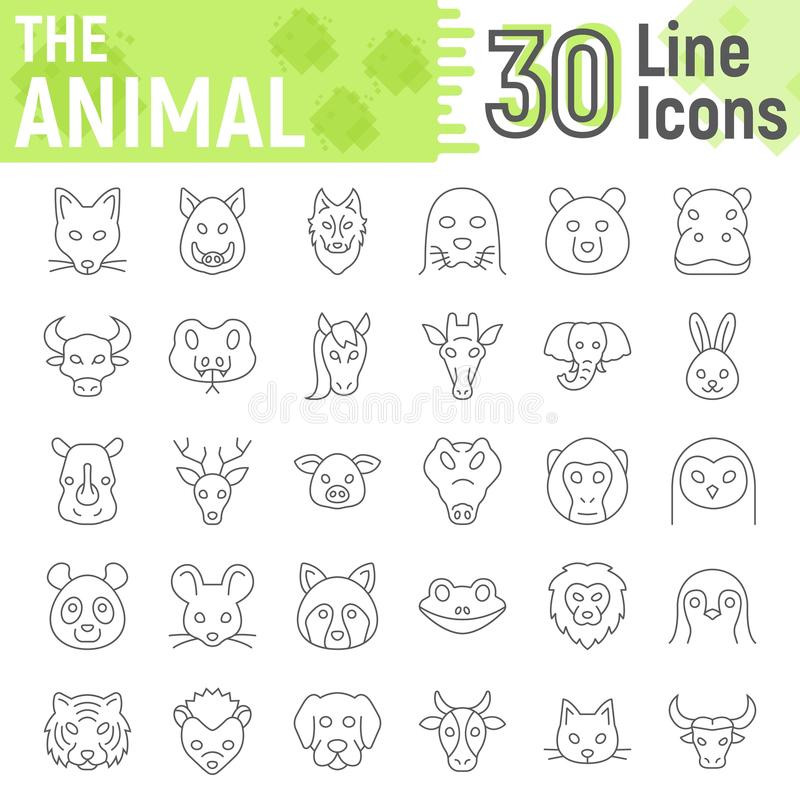 Animal thin line icon set, beast symbols. Collection, vector sketches, logo illustrations, farm signs linear pictograms package isolated on white background royalty free illustration