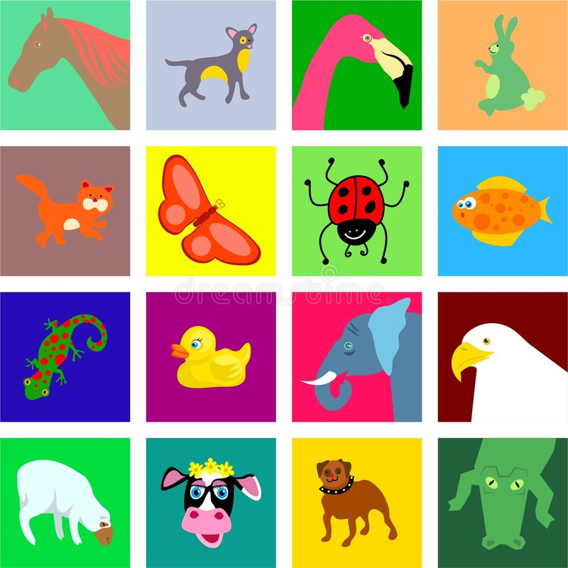 Animal tiles stock illustration