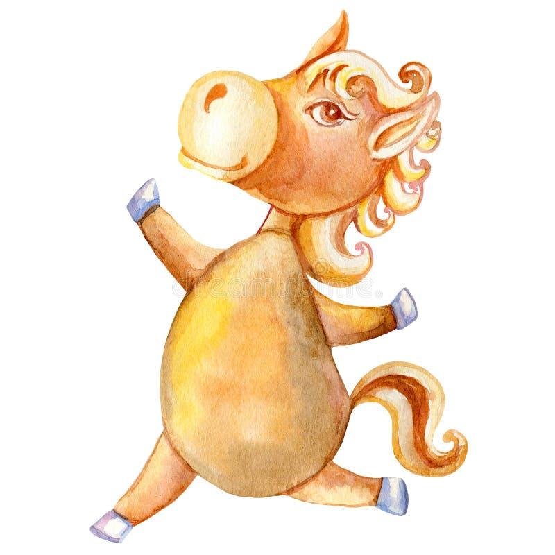 Animal tirado mão dos desenhos animados da criança do cavalo da aquarela, corredor bonito doméstico do potro isolado no fundo bra ilustração stock