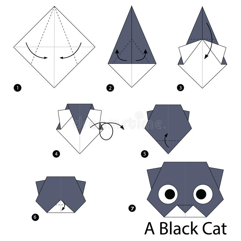 Step by step instructions how to make origami A Black Cat. Animal toy cartoon cute paper steps origami art stock illustration