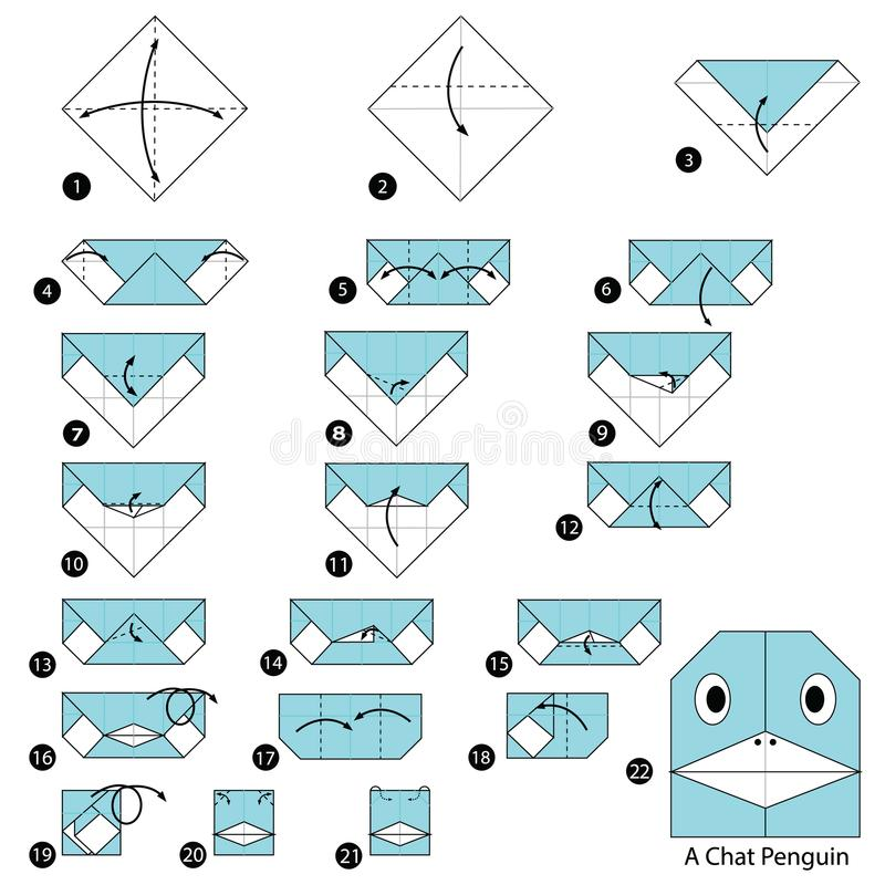 Step by step instructions how to make origami A Chat Penguin. Animal toy cartoon cute paper steps origami art vector illustration