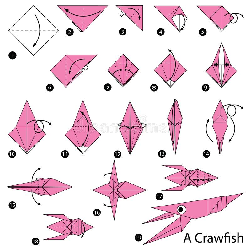 Step by step instructions how to make origami A Craw fish. Animal toy cartoon cute paper steps origami art stock illustration