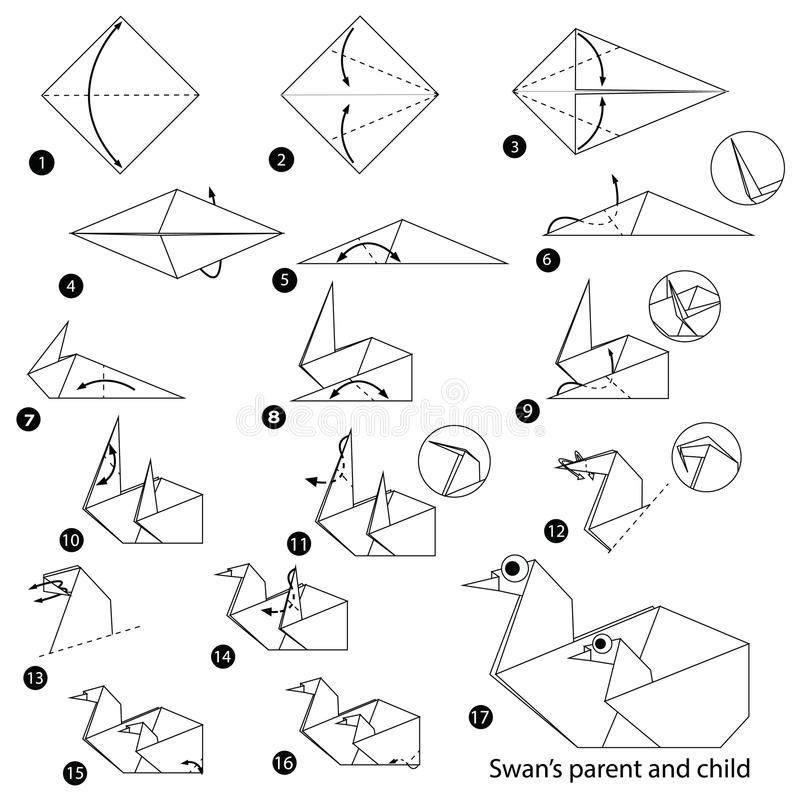 Step by step instructions how to make origami A Swan Parent And Child. Animal toy cartoon cute paper steps origami art royalty free illustration