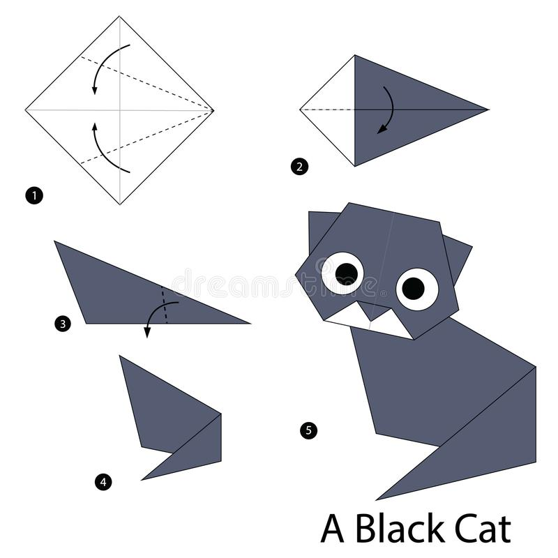 Step by step instructions how to make origami A Black Cat. Animal toy cartoon cute paper steps origami art royalty free illustration