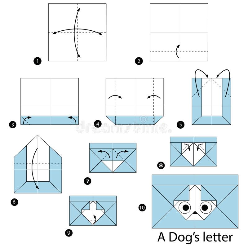 Step by step instructions how to make origami A Dog Letter. Animal toy cartoon cute paper steps origami art stock illustration