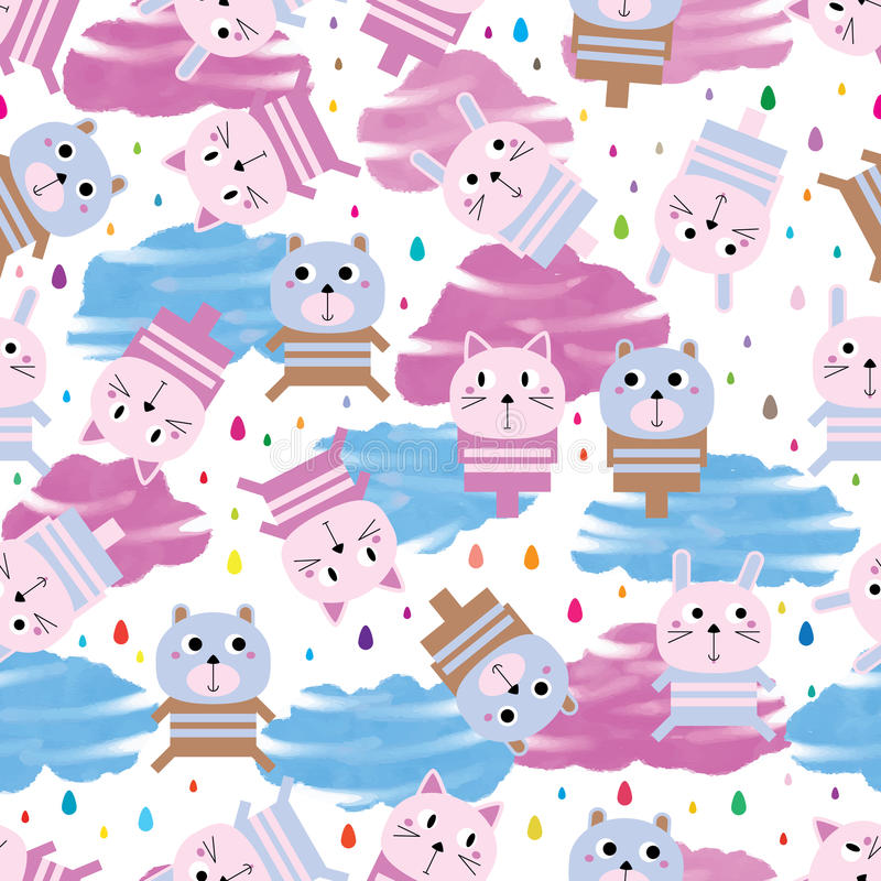 Animal toy rain drop watercolor cloud seamless pattern stock illustration