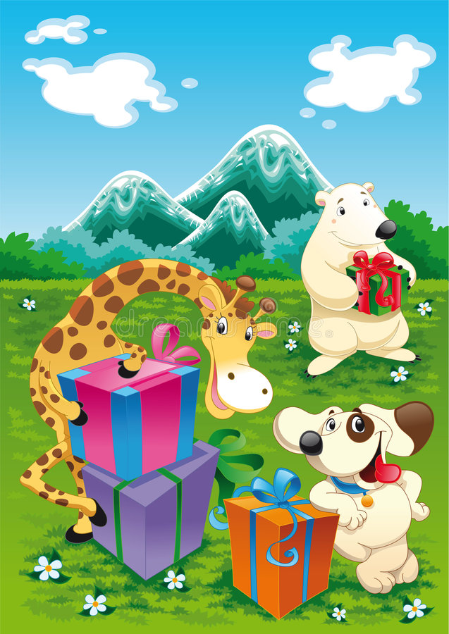 Animal with toys. Polar bear, giraffe and dog presents their toys in a natural landscape - vector illustration