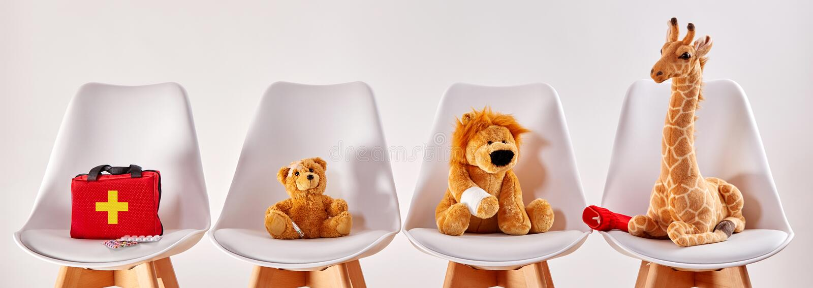 Animal toys in the waiting room of a hospital royalty free stock images