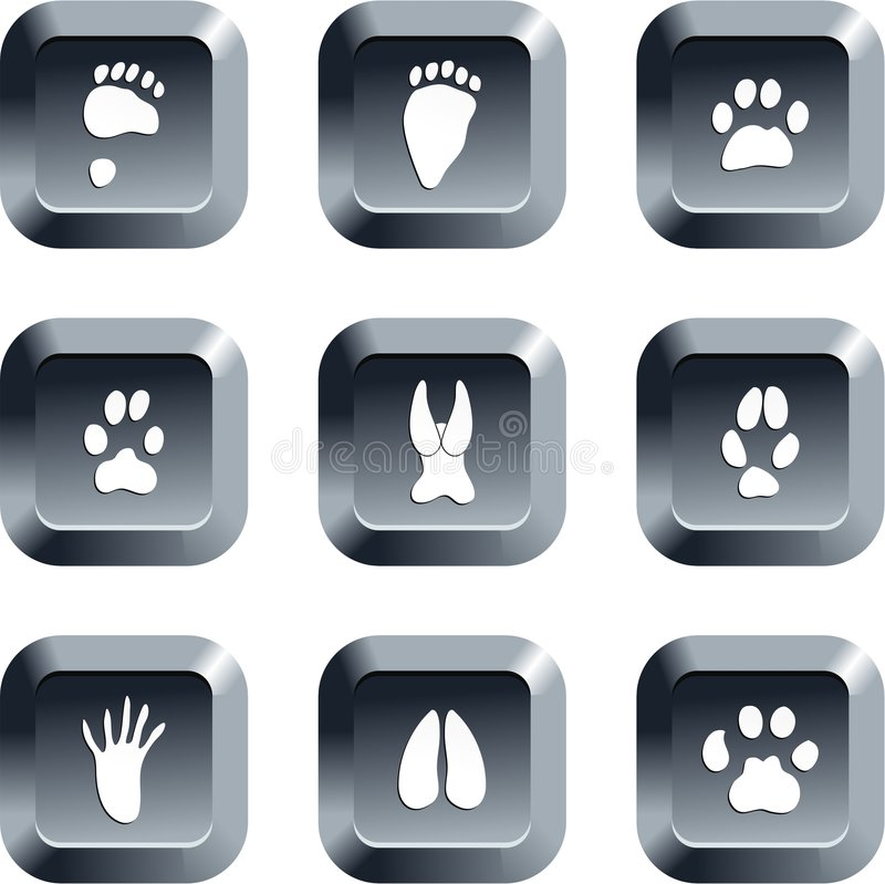 Animal track buttons vector illustration