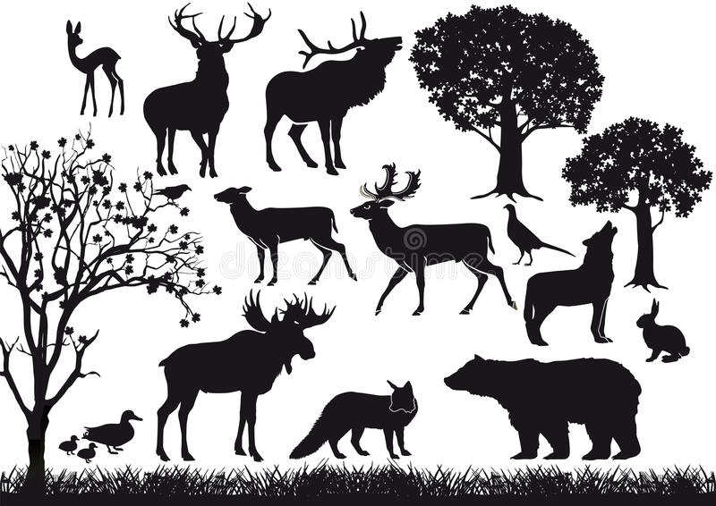 Animal and tree silhouettes royalty free illustration