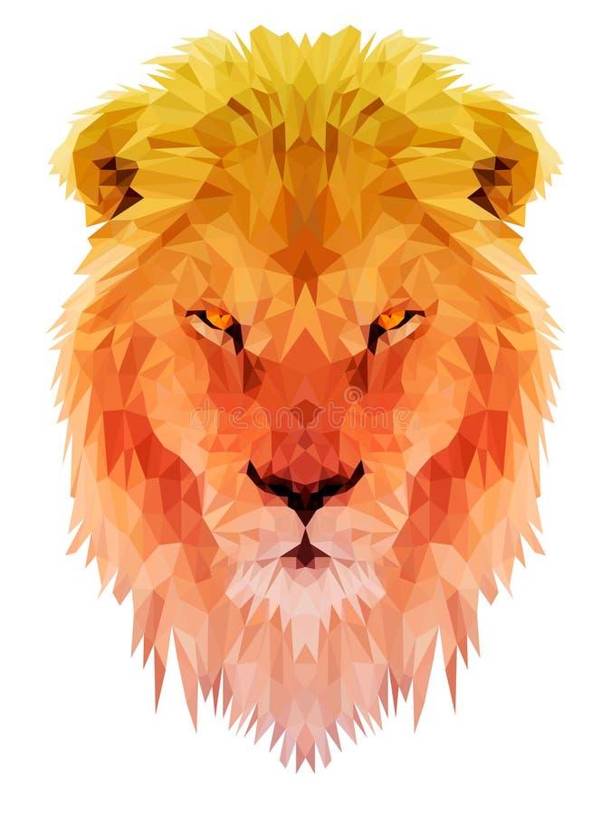 Animal triangulate polígono del león lowpoly stock de ilustración