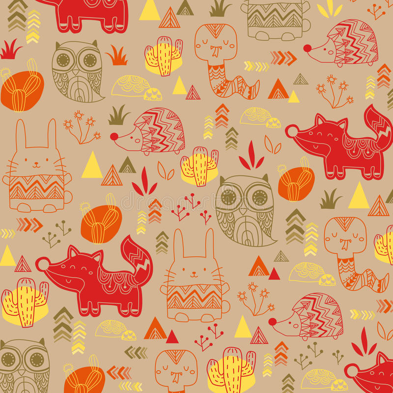 Animal tribal background stock illustration