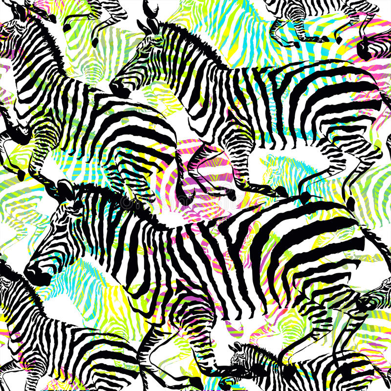 Animal tropical de la cebra de la composición en la selva en fondo dibujado mano colorida de la pintura libre illustration