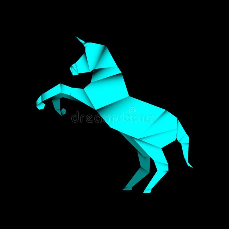 Animal unicorn origami style. In dark background, editable vector element illustration royalty free illustration
